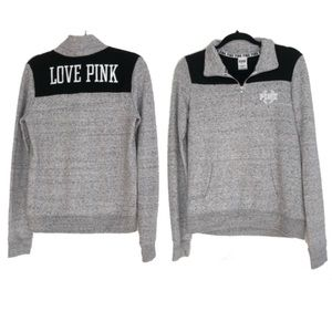 VS PINK | Gray and black half zip sweatshirt